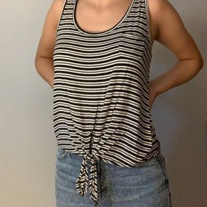 Black and white stripped tie tank